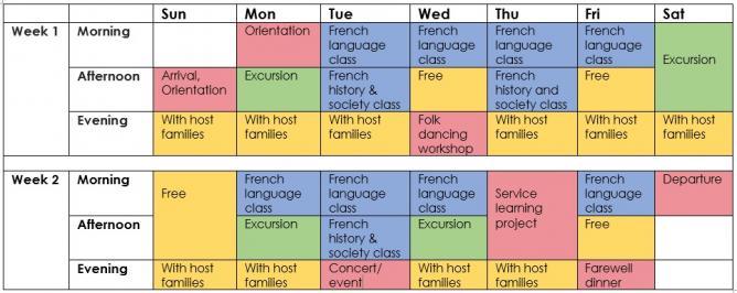 Schedule lyceen